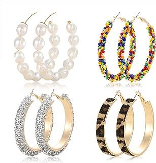 Hoop Earrings for Women Statement Pearl Beaded Hoop Earrings Set Fashion Leopard Glitter Rhinestone Hoop Earrings 4 Pairs