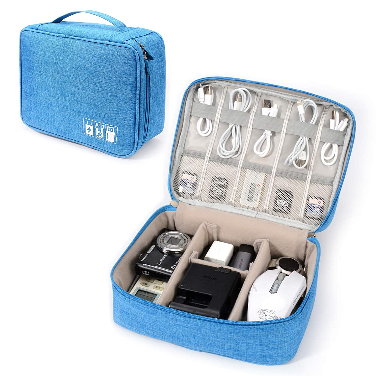 Electronic Organizer Travel Universal Cable Organizer Electronics Accessories Storage Bag Gadget Gear Cases for iPad Mini, Kindle, Smartphone, Cable, Charger, Power Bank, USB, SD Card (Sky Blue)