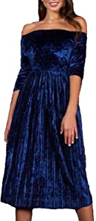 Womens Off Shoulder Boat Neck 3/4 Sleeve Empire Pleated Velvet A-Line Midi Dress