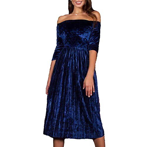 6b9f17640746 Leezeshaw Womens Off Shoulder Boat Neck 3 4 Sleeve Empire Pleated Velvet  A-Line