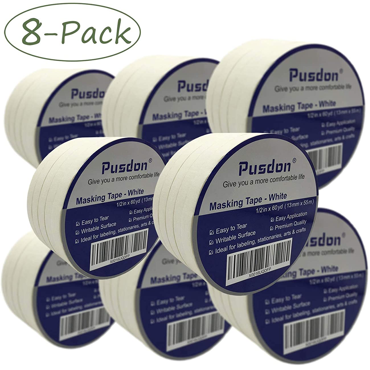 Pusdon White Masking Tape 40 Rolls, 8 Pack, Each Roll 1/2-Inch x 60 Yards, Ideal for School, Office, Label, Arts or Crafts Use