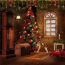 Leowefowa 5X5FT Christmas Backdrop Xmas Decoration Backdrops Christmas Balls Hobbyhorse Santa Gift Box Retro House Interior Vinyl Photo Background Kids Adults Happy New Year Studio Props