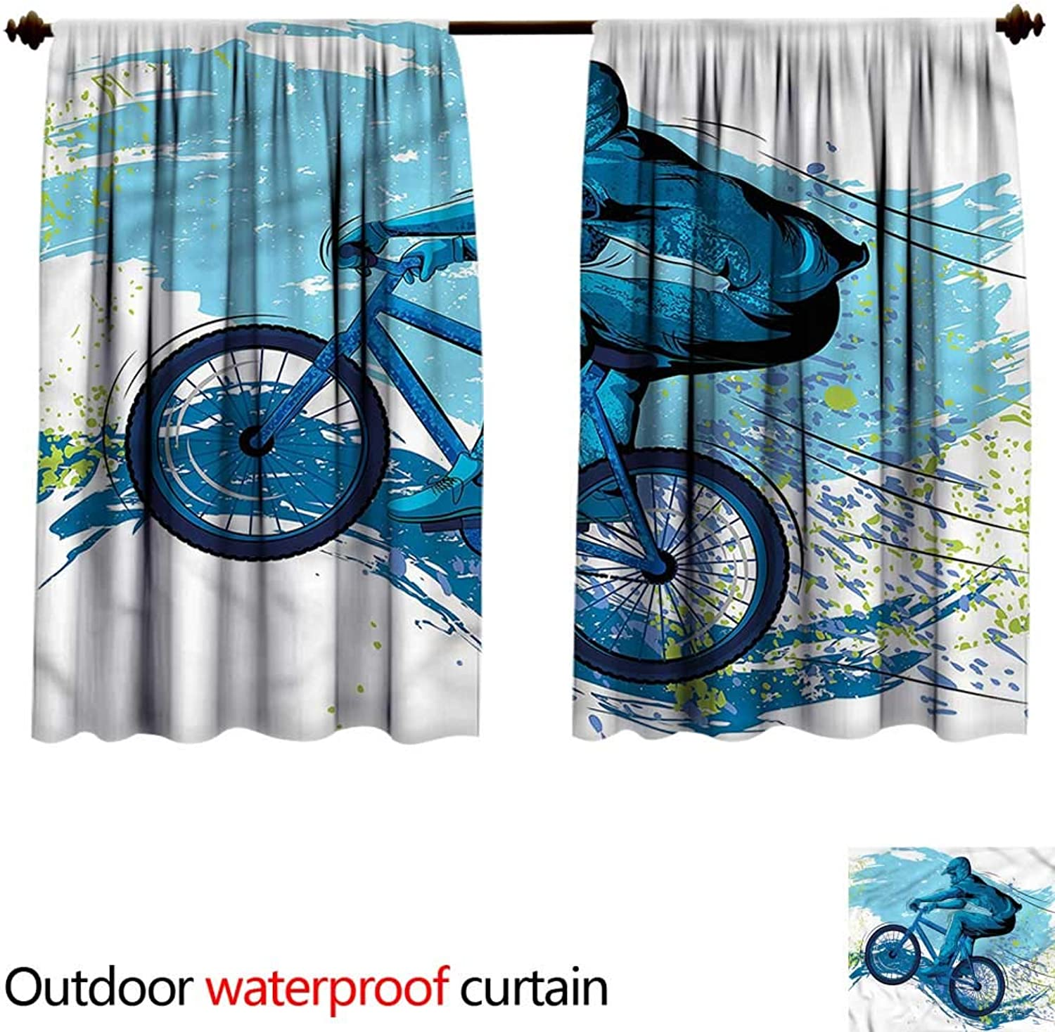BlountDecor Curtain for outdoorAntiWater W72 x L63(183cm x 166cm) Sports,Bicyclist color Splashes