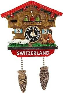 FunnyToday365 Handmade 3D Resin Cuckoo Clock Travel Souvenirs Creative Refrigerator Stickers Home Decoration Switzerland