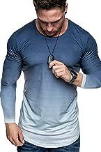 Koloyooya Mens Round Neck Gradient Long Sleeve T-Shirt Sports Gym Muscle Slim Top