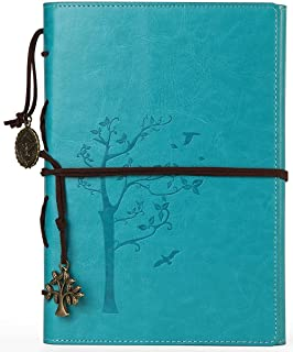 VALERY classic Leather Notebook-vintage Diary &Journal -Blank&lined Refillable Loose Leaf Pages-mediterranean &Middle Ages Design-men&women Daily Use Gift(Aqua blue)