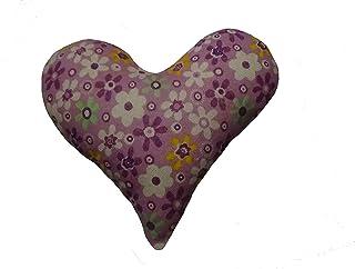 Corazón de tela de color morado, con flores para decorar, regalar o tener un bonito detalle. Silvys handmade