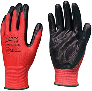 12 Pairs Red Black Nitrile Coated Nylon Safety Builders Work Gloves Construction Mechanic Grip (Size - XL / 10)