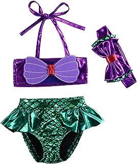79956c0ee8 Kids Toddler Baby Girl Mermaid Swimsuits Halter Swimwear Bikini Set with  Headband 3Pcs Set