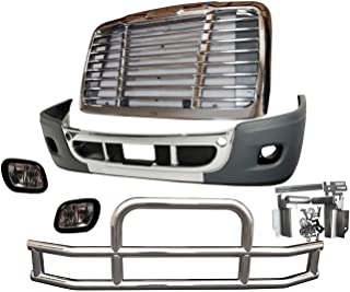QSC Bumper Fog Light Grille Deer Guard Set for Freightliner Cascadia 08-16