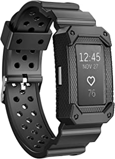 JIELIELE Charge2 Bands Protective Silicone Frame Case Band Strap Charge 2 Replacement Wristband Men Accessory Compatible Fitbit Charge 2 HR