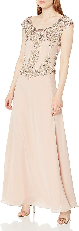 J Kara Women's Cap Sleeve Long Beaded Dress