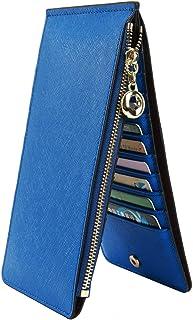 YALUXE Femme Portefeuille Blocage RFID Porte-Cartes Zippé Bien Organisateur des Cartes Cuir Véritable Doux Bleu Ciel 2.0