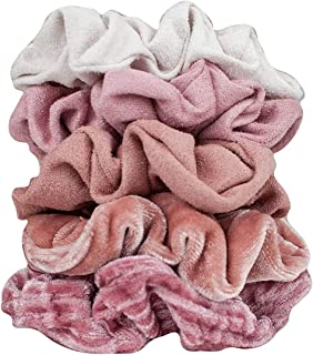 Kitsch Velvet Scrunchies for Hair, Hair Scrunchies for Women, Scrunchy Hair Bands, 5 Pack (Blush/Mauve)