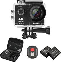"""Action Camera 4K WiFi 16MP Adjustable View Angle Sports Camera with 2"""" IPS Screen, 100 Fts Waterproof Camera Remote Control 2 Batteries Abundant Mounting Accessories Kit and Red Filter-ZONKO ZK8000P"""