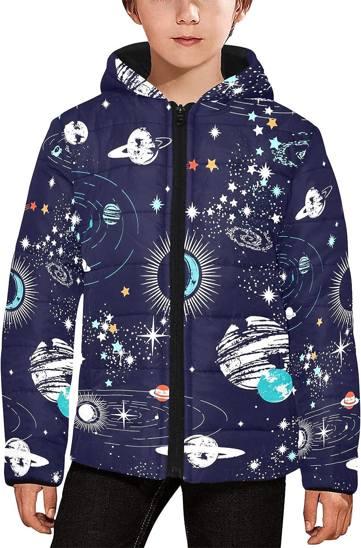 Artsadd Cute Dinosaurs Kid's Padded Hooded Jacket, Boys Girls Winter Long Sleeve Puffer Warm Outerwear Coat