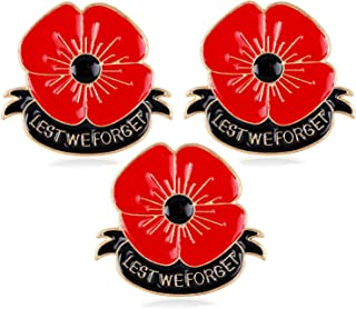 Nzztont 3PCs Lest We Forget Poppy Brooch Pins Brooches for Hero Soldier Remembrance Day Gifts Veterans Day Jewelry