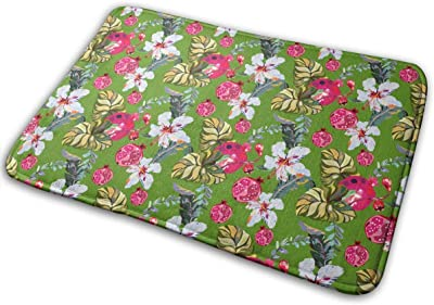 Tropical Lily Pomegranate Carpet Non-Slip Welcome Front Doormat Entryway Carpet Washable Outdoor Indoor Mat Room Rug 15.7 X 23.6 inch