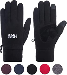 Nertpow Winter Warm Gloves for Men and Women, Polar Fleece Thermal Windproof Touchscreen Gloves for Driving Cycling Running