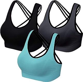 Lataly Paquete de 3 sujetadores deportivos para mujer, para