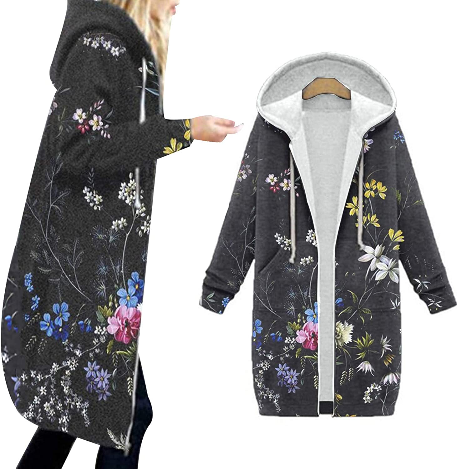 Women's Warm Long Overcoat Hooded Winter Quilted Cotton Parka Outwear Jackets Hoodie Floral Print Zipper Cardigan Trench