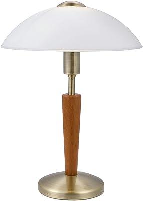 Eglo Lampe de Table Solo 1, 1 Ampoule, Matériau : Acier, Bois, Couleur : Bruni, Noyer, Verre : Blanc Satiné, Culot : E14, Variateur Tactile Inclus