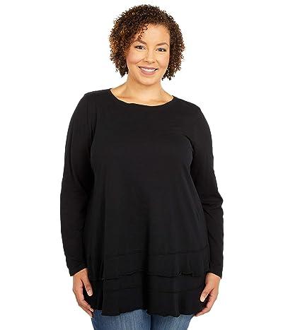 Mod-o-doc Plus Size Slub Jersey Asymmetrical Long Sleeve Flounce Hem Tee (Black) Women