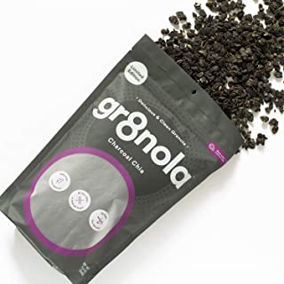 gr8nola Granola Cereal - CHARCOAL CHIA - Healthy Breakfast or Snack, Non GMO, Vegan, Low Glycemic with Coconut Oil - 11.5 ounces
