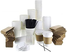 {120 COUNT} JUMBO Pack White Coffee Cups | Insulated Disposable Hot Cups with Lids, Sleeves & Stirrers for Tea, Chocolate ...