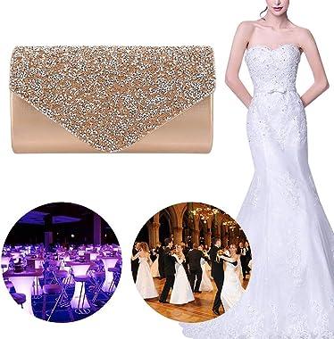 Gabrine Damen Abendtasche Handtasche Clutch Geldbörse Strass Nieten Klappe für Hochzeit Party Abschlussball