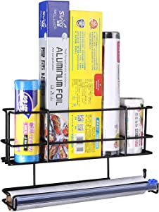 Wall Mount Kitchen Wrap Organizer Rack With Cutter, Mount to Solid Cabinet Door, Wall or Refrigerator, Household Home Storage Shelf For Food Storage Bag, Aluminum Foil, Wax Paper, Plastic Wrap, Black