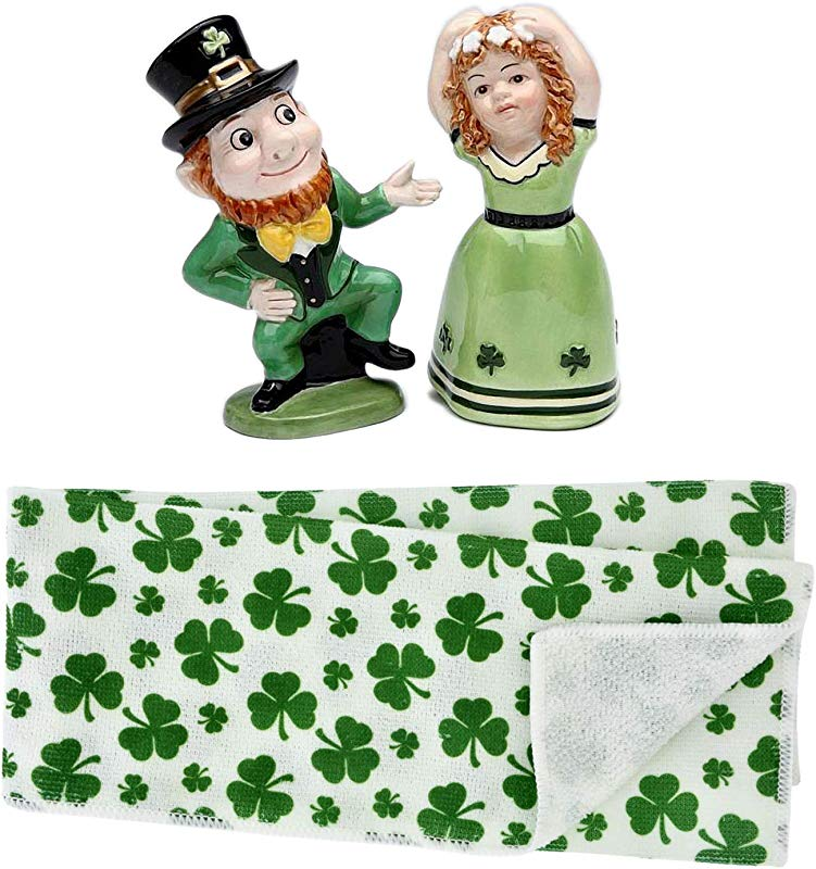 Leprechaun Irish Boy And Girl Dancing Salt And Pepper Shaker Figurines With St Patrick S Day Shamrock Polyester Hand Towels Set