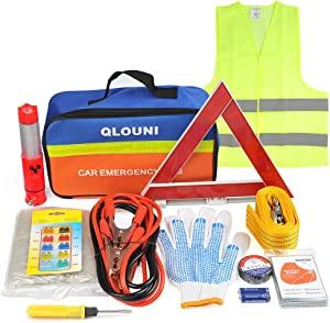 QLOUNI 12-In-1 Car Emergency Tool Kit Auto Safety Kit for European Travel  Breakdown Kit Roadside Assistance with Warning Triangle  High Visibility Vest  Tow Rope  Car Safety Hammer  Storage Bag