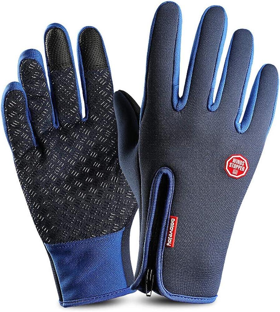 Men's Women's Glove Winter Warm Ski Snow Windproof Touch Screen Thermal Glove Blue