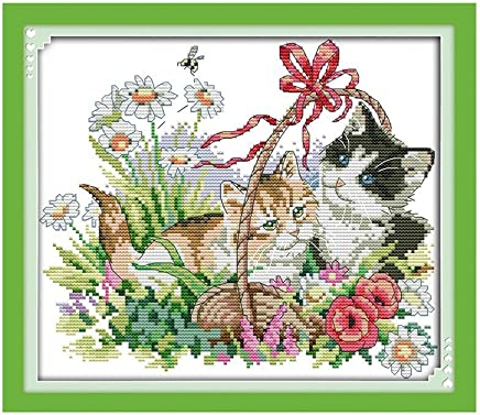 Anself Lovely Cats Pattern DIY Embroidery Kit Cross Stitch Set for Home Decor 38 34cm