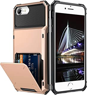 Vofolen Cover for iPhone 6 Plus Case Wallet 4-Card Pocket Credit Card Holder ID Slot Dual Layer Anti-Scratch Hard Shell Rubber Bumper Armor Hybrid Protective Case for iPhone 6 Plus 6S Plus Rose Gold