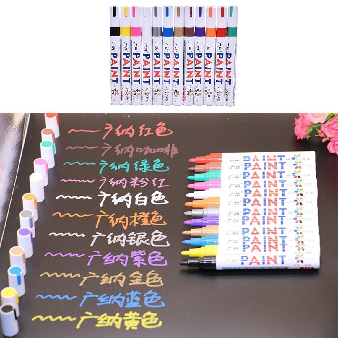 OBELLA BOUTIQUE 1pcs 12 Colors Colorful Marker Pen For CD Ceramic Glass Plastic Wood Paper Paint Marker Caneta Escolar Office School Supplies