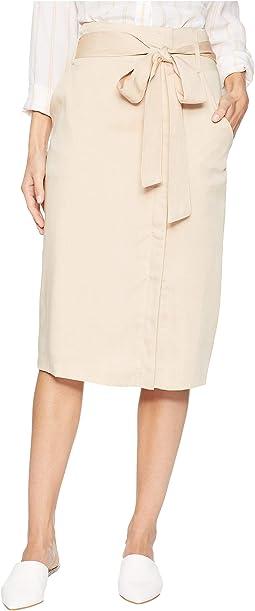 Midi Skirt with Tie Belt