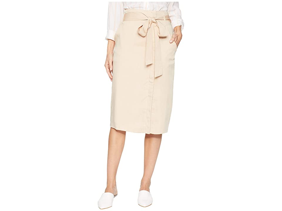 MOON RIVER Midi Skirt with Tie Belt (Taupe) Women