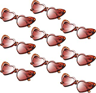 9 Pairs Heart Shaped Sunglasses Vintage Heart Sunglasses Women Retro Eyeglasses for Shopping Traveling Party Accessories
