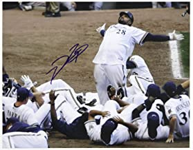 Autographed Signed Famous Prince Fielder 11x14 'Bowling Pins' Home Run Photo Memorabilia JSA - Brewers