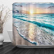 Baccessor Tropical Sea Beach Ocean Waves Shower Curtain with Hooks, Seaside Scene Island Hawaiian Sunrise Theme, Waterproo...