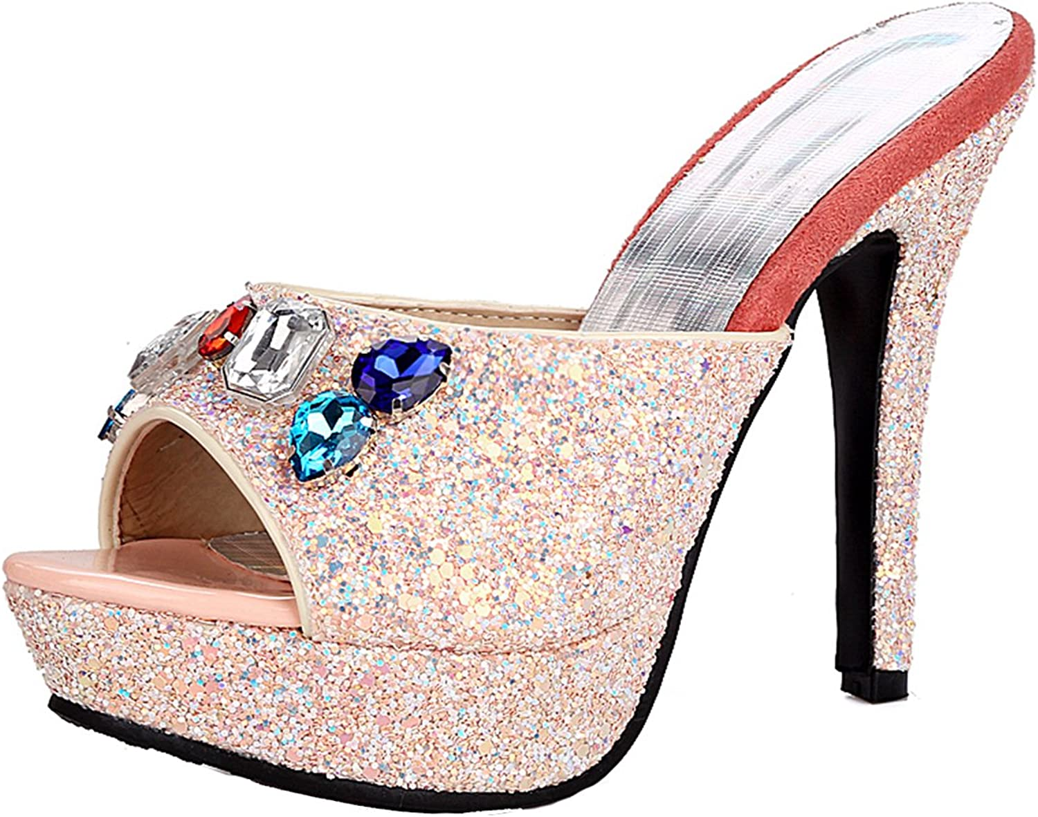 AIYOUMEI Women's Peep Toe shoes Glitter Platform Stiletto High Heels Slippers with Rhinestones
