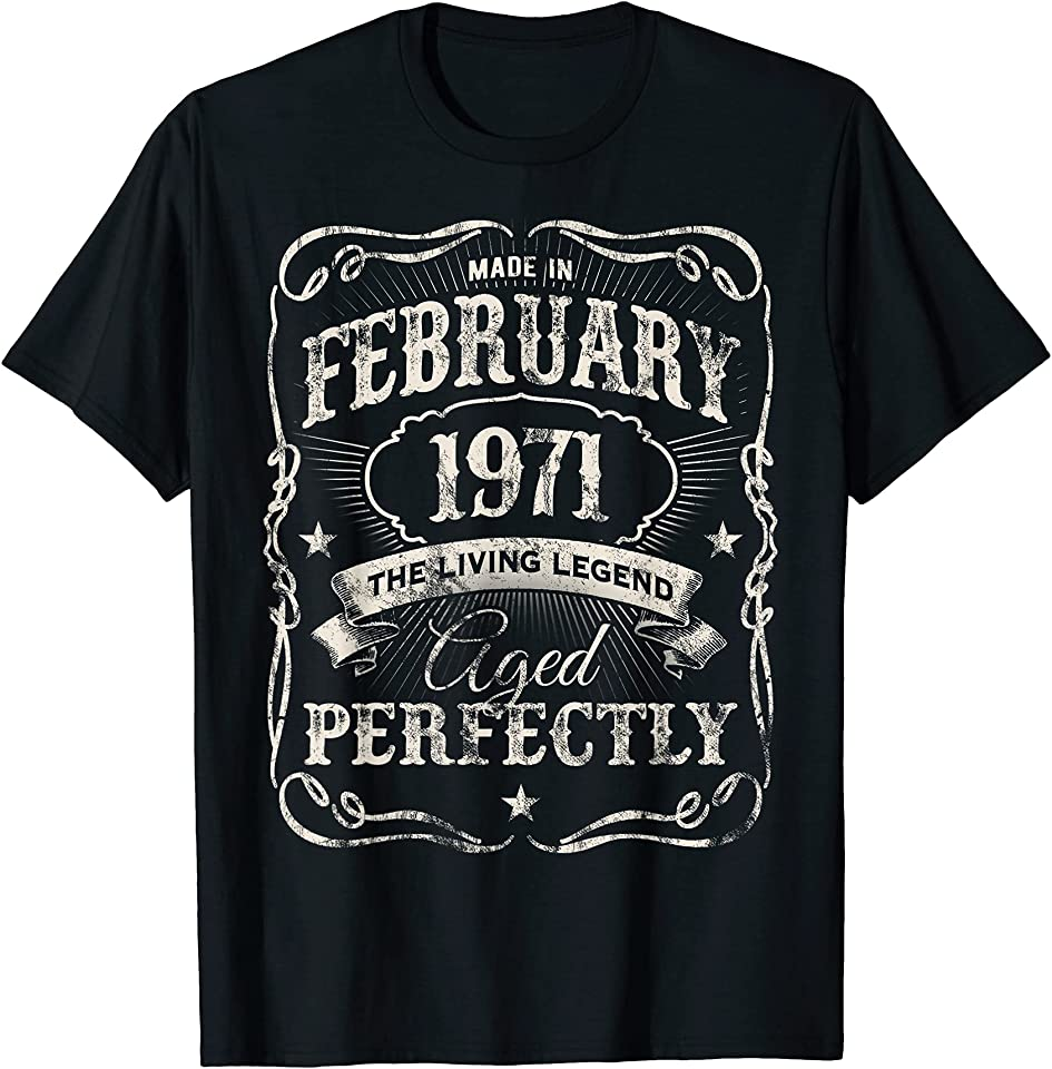 Vintage Made In February 1971 Classic 50th Birthday T-Shirt