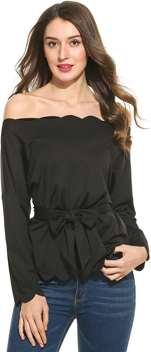 BEAUTYTALK Women's Off The Shoulder Top Blouse Long Sleeve with Waisttie