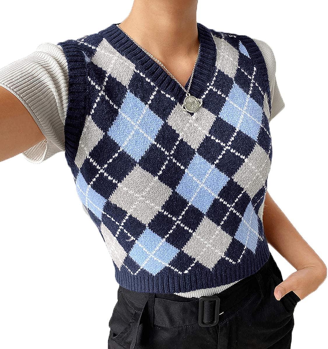 Women Sweater Vest Preppy Style Argyle Plaid Knitwear V Neck Sleeveless Crop Tank Top Streetwear (Blue, M)