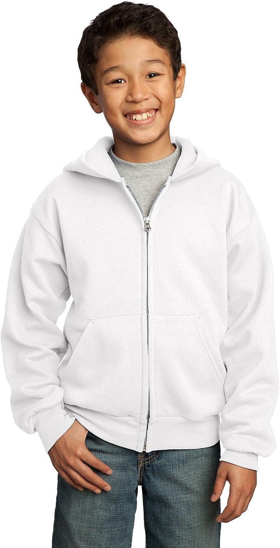 Port & Company Youth Full-Zip Hooded Sweatshirt, X-Large, White