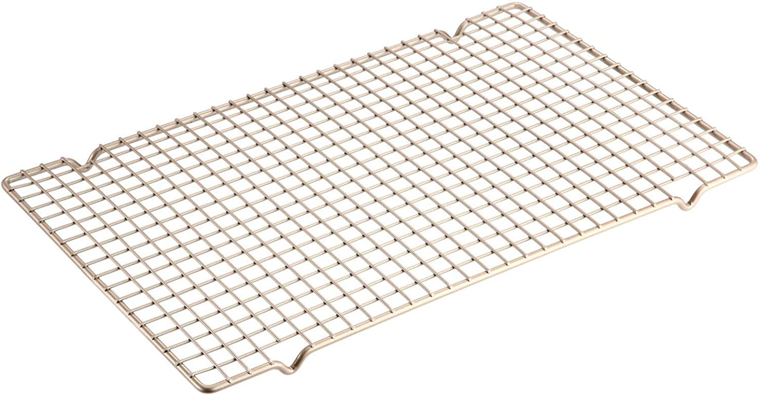 CHEFMADE Baking And Cooling Rack 16 Inch Non Stick Bold Grid Design Rectangle Wire Rack FDA Approved For Oven Baking Champagne Gold