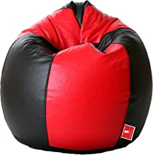 ComfyBean Bean Bag Teardrop Shape Without Fillers (Size L, Black and Red)