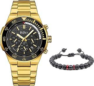 Montre Homme Design Etanche Chronographe Lumineuses Montres en Acier Inoxydable Bracelets et Grand Cadran Date Analogique ...